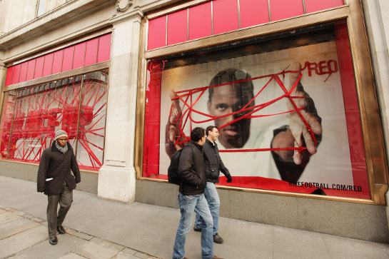 The NIKE & (RED) Charity Announcement at NikeTown on November 30, 2009 in London, England.
