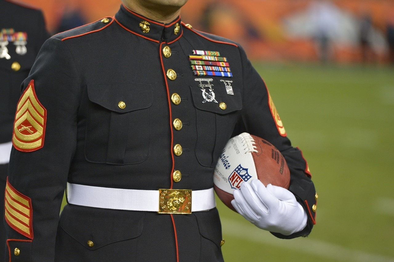 NFL Salute to Service - Marine with Football