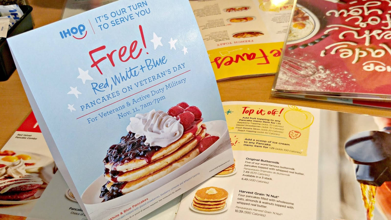 IHOP Red White and Blue Pancakes: Table Card