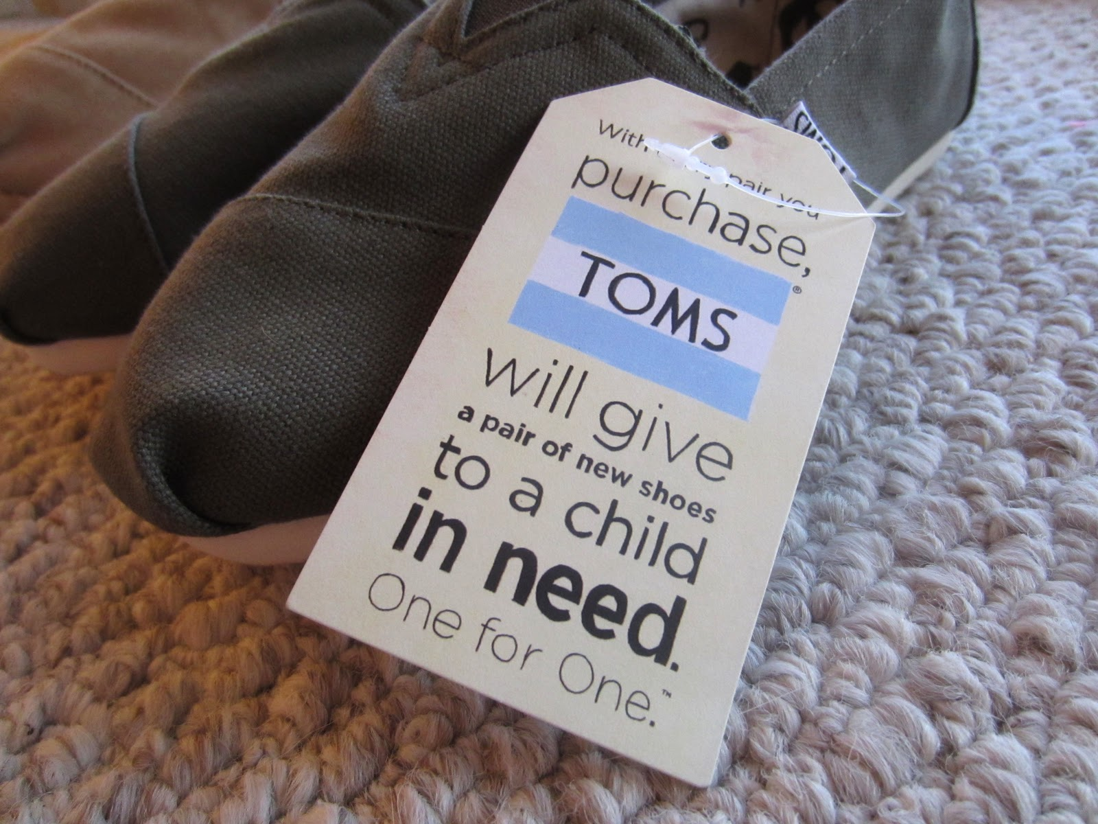 TOMS will give a pair of shoes to a child in need
