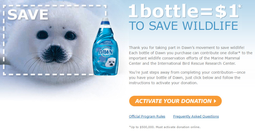 Dawn Microsite 1 bottle equals 1 dollar donation