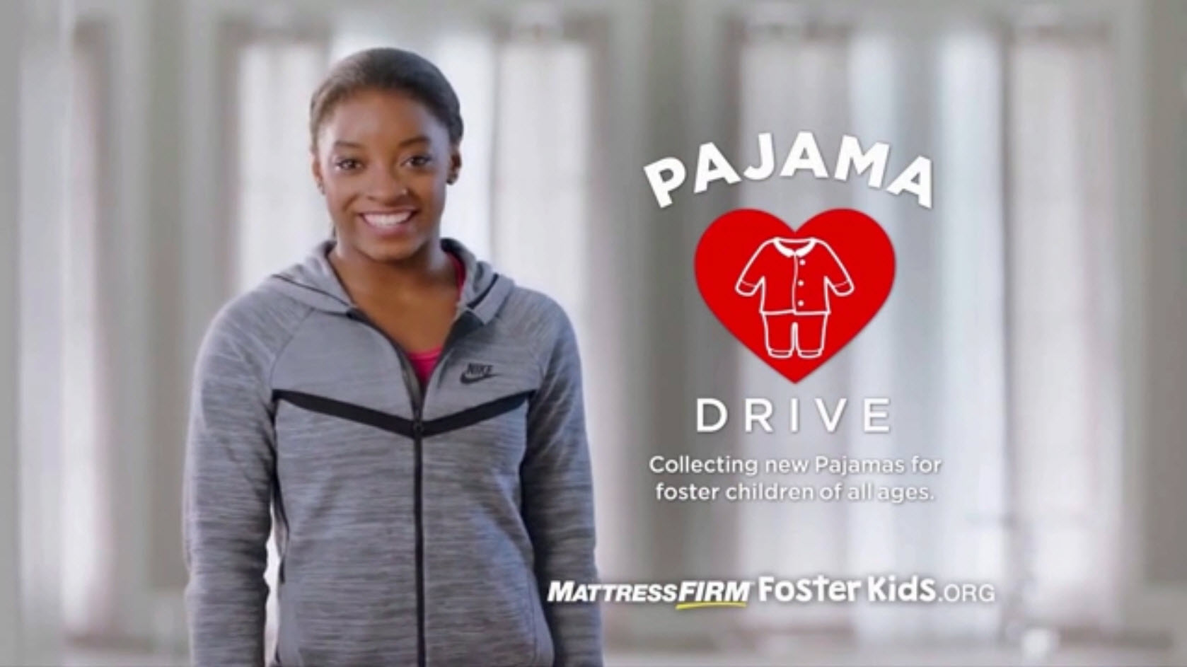 Simone Biles Mattress Firm Pajama Drive