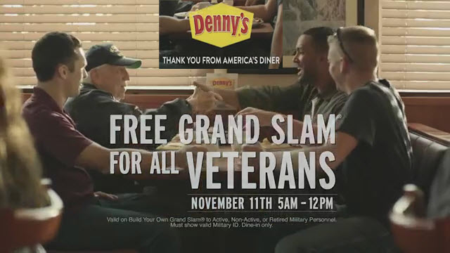 Denny's Veterans Day Free Grand Slam Breakfast