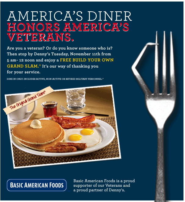 Veterans Day: Denny's Free Grand Slam Breakfast