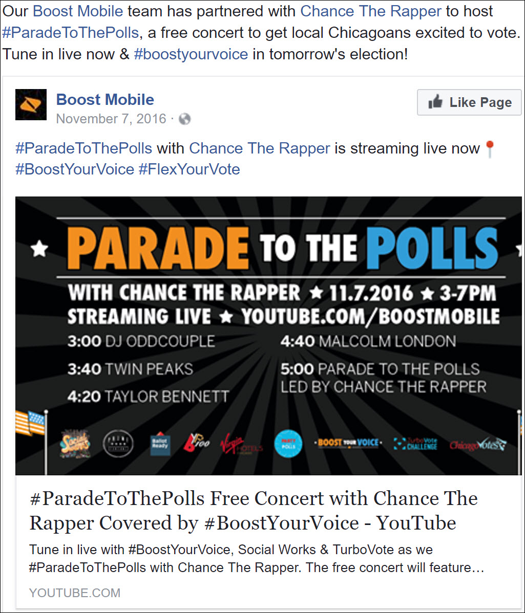 Boost Mobile Parade to the Polls